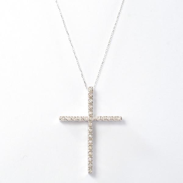 ノンブランドジュエリー ダイヤペンダント クロスモチーフ K18WG 中古A品