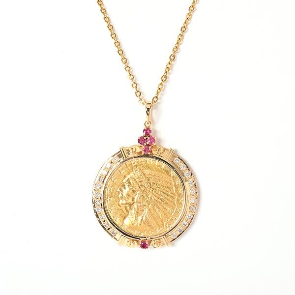 ノンブランドジュエリー インディアンコイン K21.6YG/K18YG 中古A品